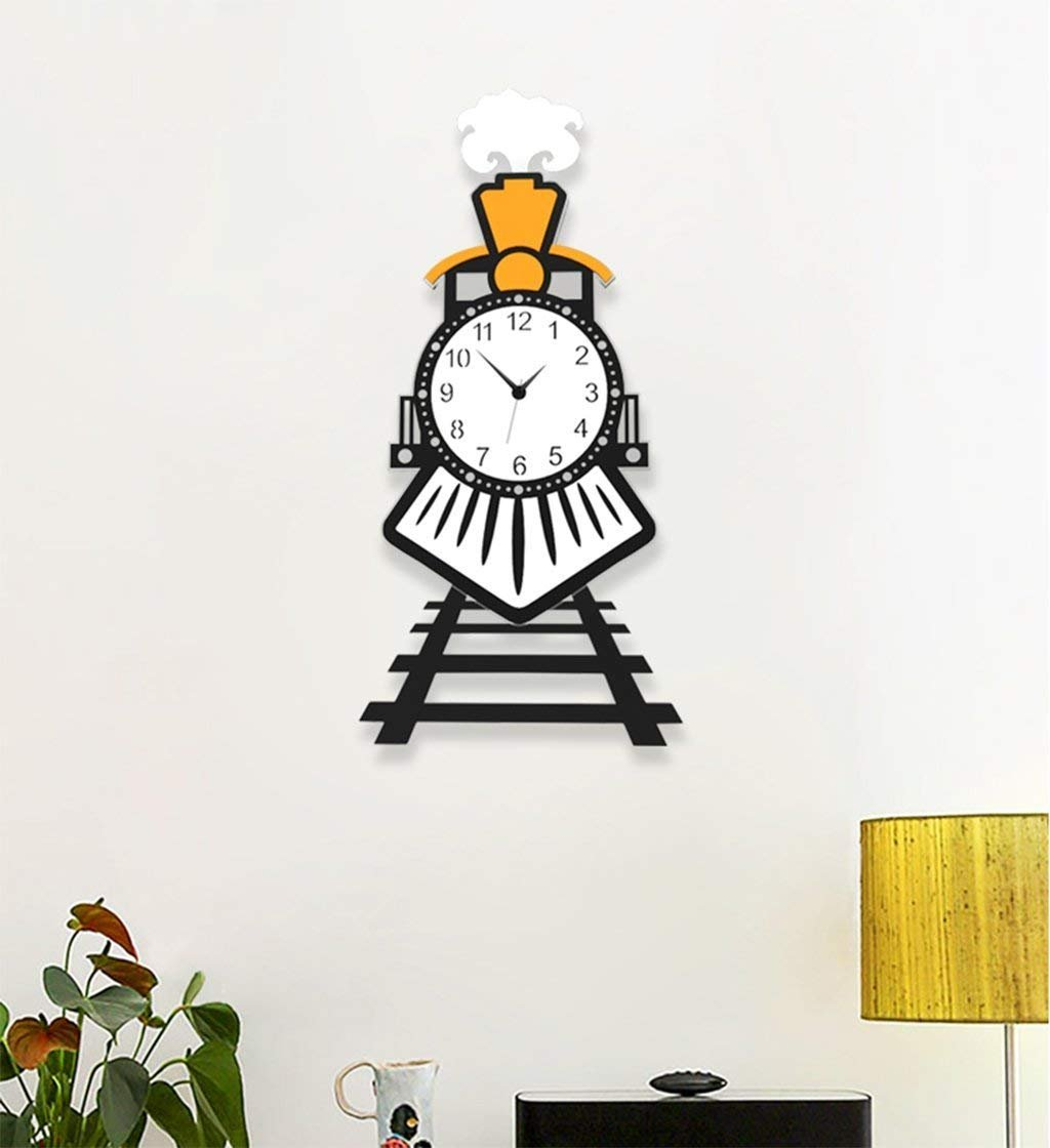 壁時計、漫画のスタイル北欧シンプルな小さな列車モデリング壁時計リビングルームミュート鉄、青装飾壁時計、27 * 46Cm B07FSJTCFB