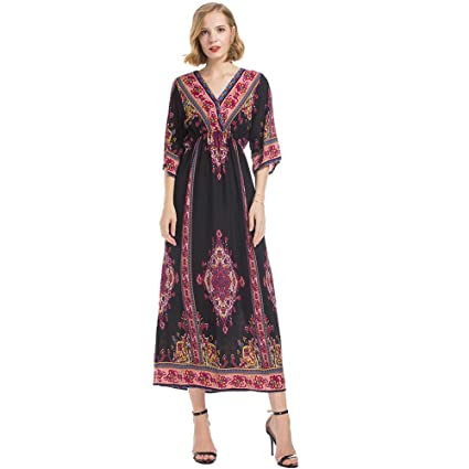 21280004c8 Image Unavailable. Image not available for. Color  Corriee Women Half  Sleeve V Neck Maxi Dress