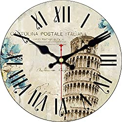 ShuaXin 16 Inch Vintage Italy Pisa Leaning Tower Design Silent Wooden Wall Clock Decorative Living Room and Office Wall Art Decorations Clocks (#03)