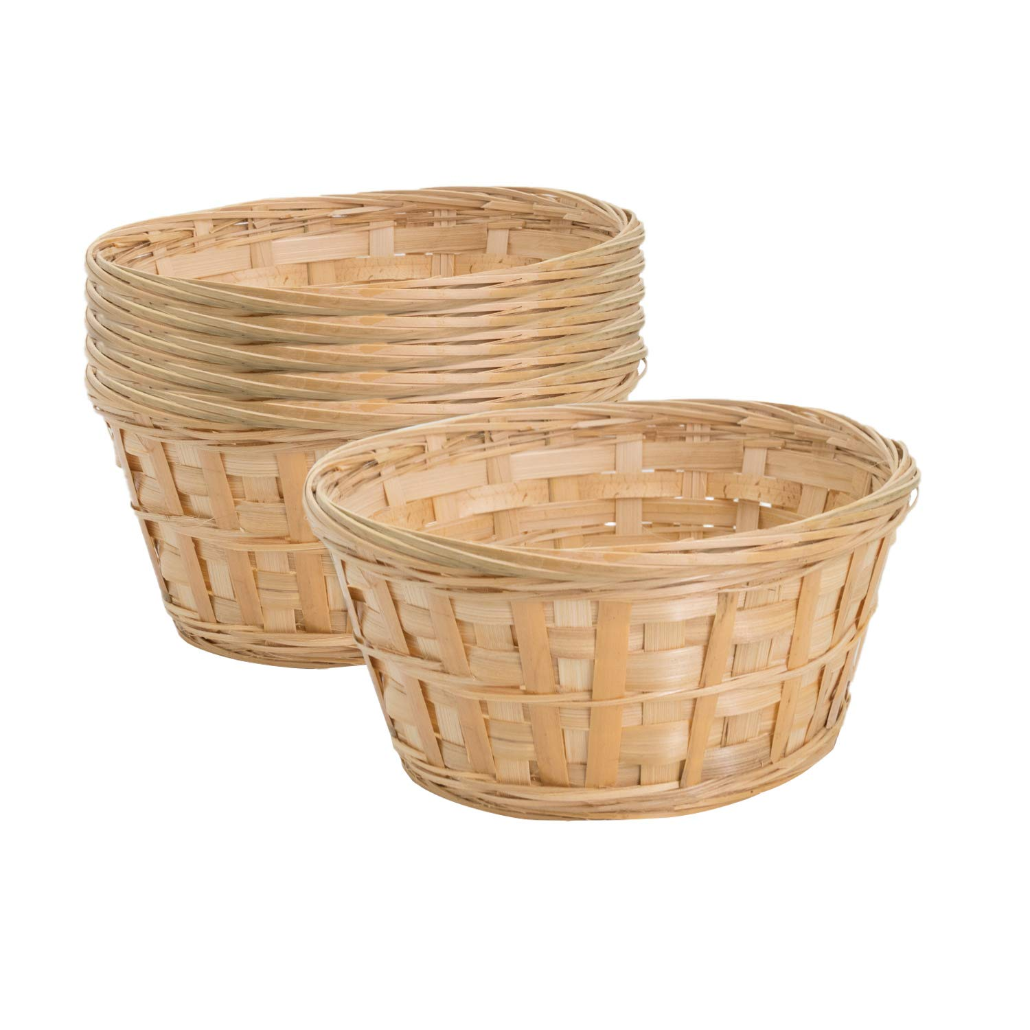 Royal Imports 8'' Round Natural Bamboo Handwoven Bread Basket 4''x8'' with Braided Rim, Pack of 6