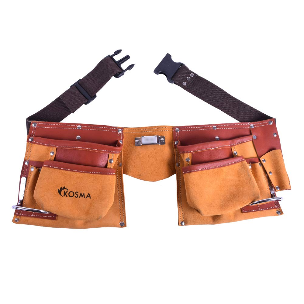 Kosma 11 Pocket Carpenter Leather Tool Belt (Two Tone) with Quick Release Nylon Belt | Tool Apron