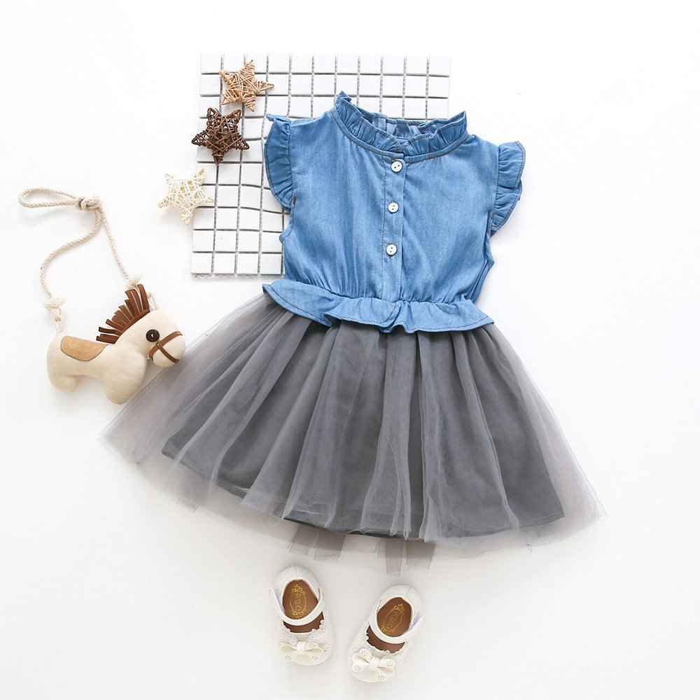 Amazon.com: Chanyuhui Toddler Kids Baby Girls Clothes 1 Pcs Button up Denim Tutu Dress Sleeveless Princess Party Midi Dresses Outfits: Clothing