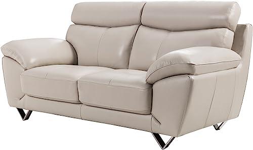 American Eagle Furniture Valencia Modern Italian Leather Living Room Loveseat