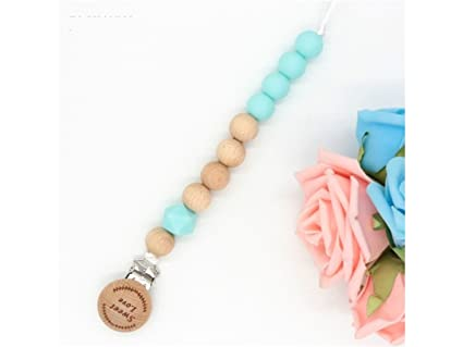 Amazon.com: Soother Clip Lovely Wooden Baby Teething Pacifier Clip ...