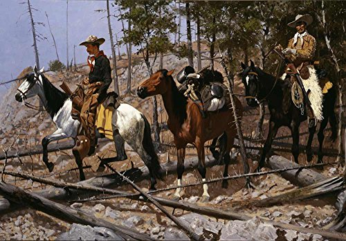 Cowboy Wallpaper - wall26 Prospecting for Cattle Range by Frederic Remington - American Illustrator - Country Western - Cowboy Culture - Peel and Stick Large Wall Mural, Removable Wallpaper, Home Decor - 66x96 inches