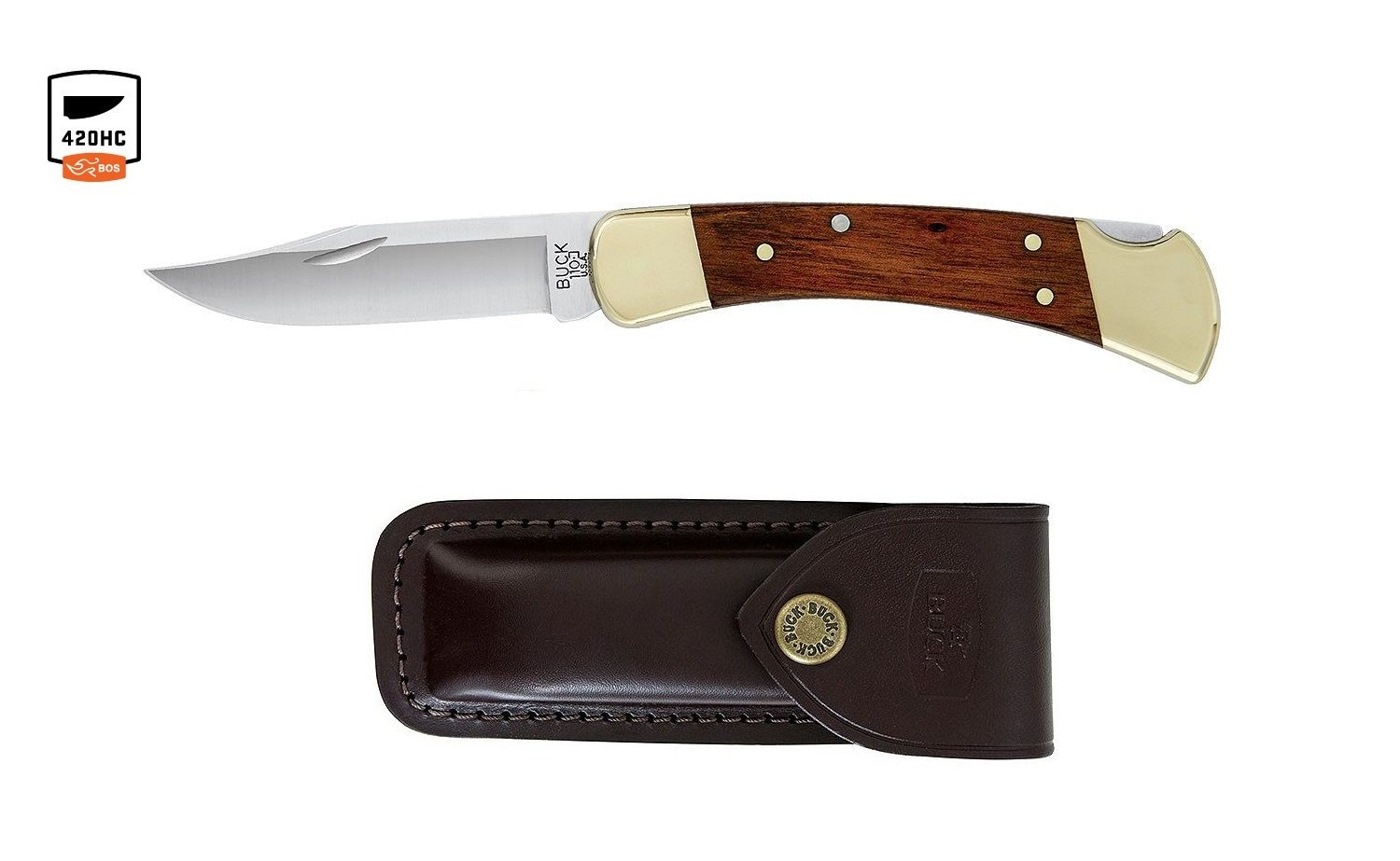 Buck Knives 110 Wood Brass Folding Hunter Knife with Genuine Leather Sheath Exclusive 110CCSB by Buck Knives (Image #1)