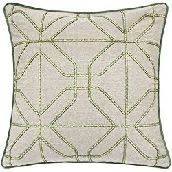 Homey Cozy Embroidery Green Linen Throw Pillow Cover,Spring Green Series Geometric Ring Modern Western Decorative Sofa Couch Pillow Case 20x20,Cover Only