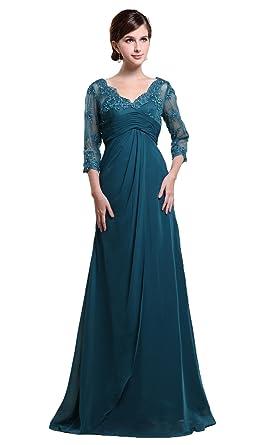 2f7de85a687 Snowskite Women s Elegant V-neck Chiffon Lace Beaded Mother of Bride Dress  Blue 0