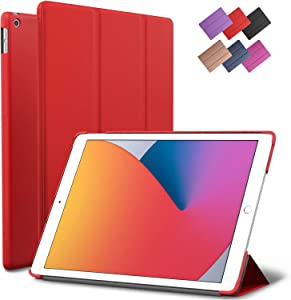 iPad 10.2-inch 2019 2020 Case, ROARTZ Red Slim Smart Rubber Folio Hard Cover Light Trifold Wake Sleep for Apple 7th 8th Generation Latest Model A2197 A2198 A2200 A2270 A2428 A2429 A2430