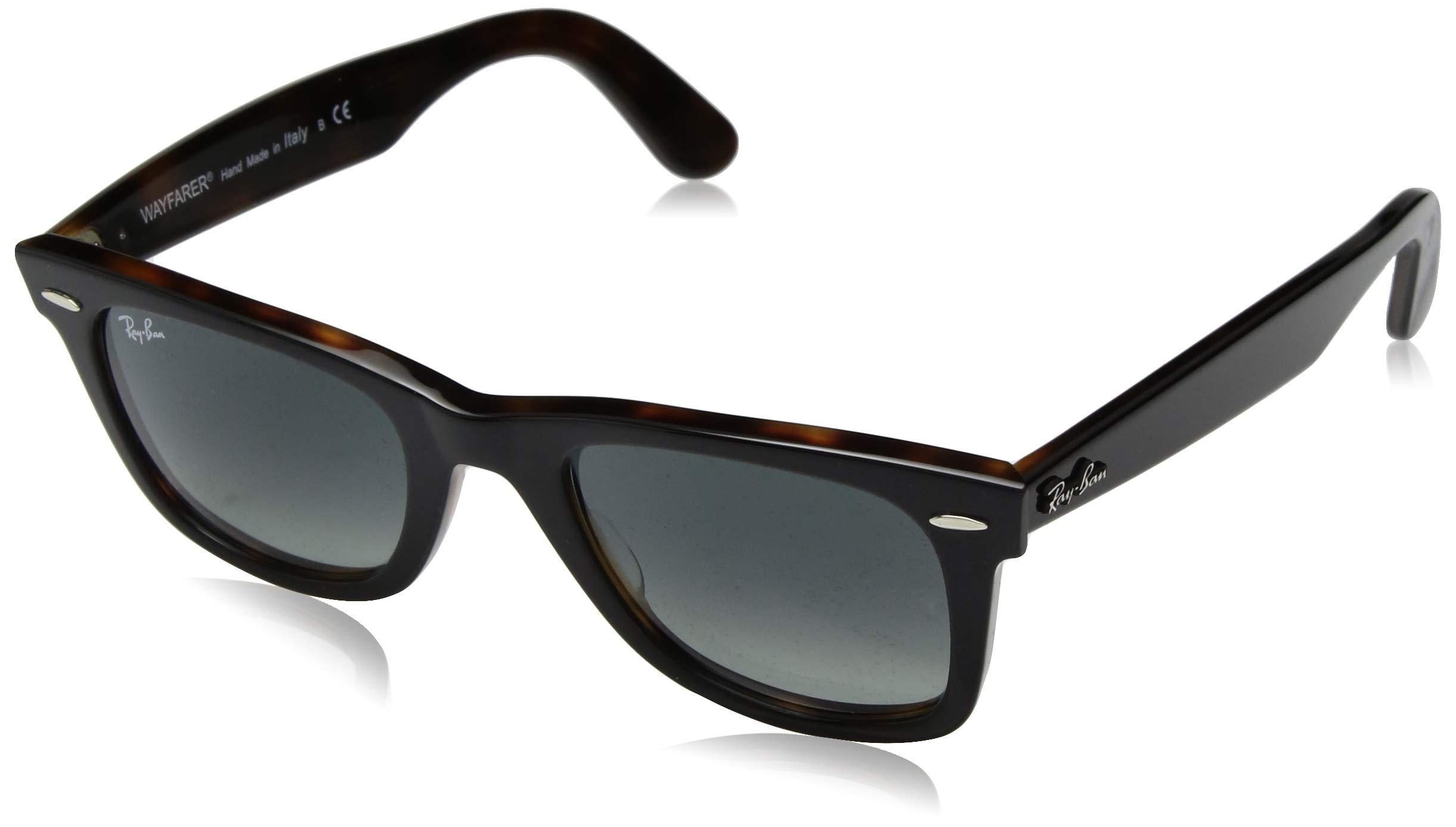 Ray-Ban Wayfarer Square Sunglasses, Top Grey on Havana, 50 mm