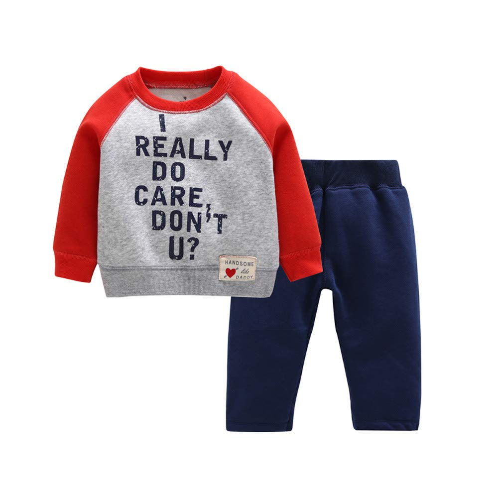 2Pcs Baby Boys Outfits Set,Zerototens Toddler Kids Boys Long Sleeve Letter Printed Warm Fleece Sweatshirt Tops Pants Boys Tracksuit Thermal Underwear Set 0-3 Years Old