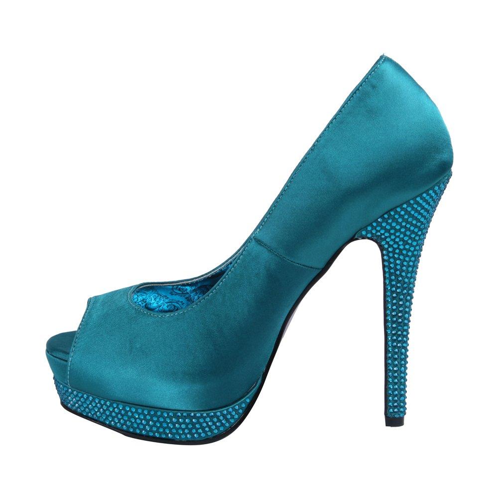 Bordello - Bella 12R Turquoise Satin Pump Peep Toe Pump Satin UK2 - 287688