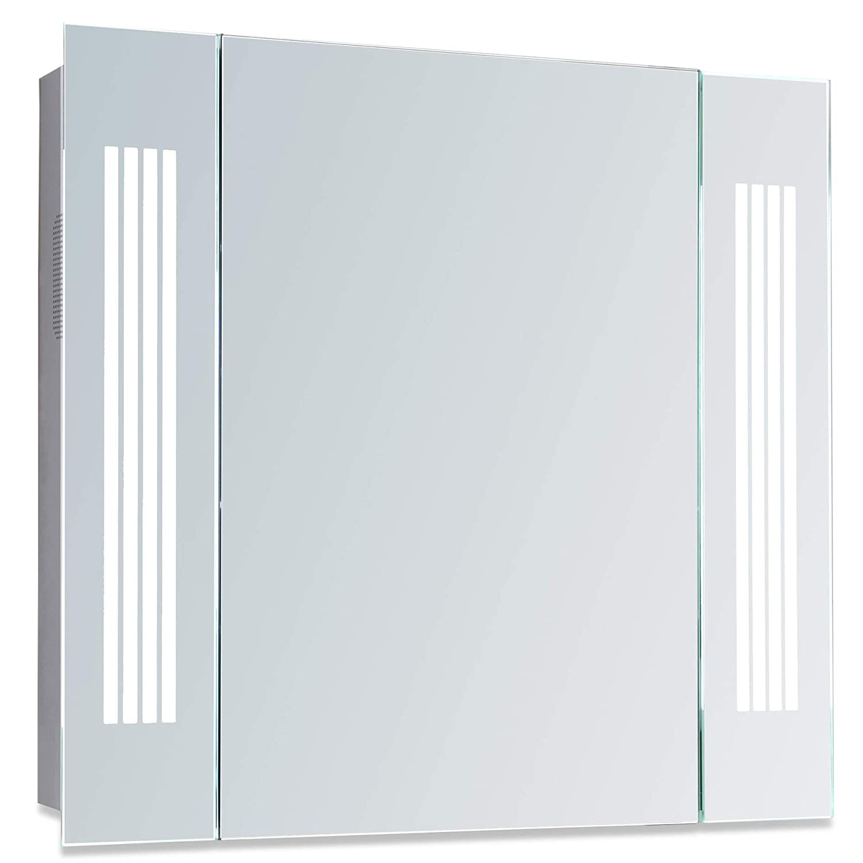 Neue Design Illuminated Bathroom Mirror Cabinet Bluetooth Speakers Concealed Demister Shaver Socket /& Sensor Switch LED Lights W D H X 13.5cm Fully Certified to British Standards 60cm X 65cm - C29