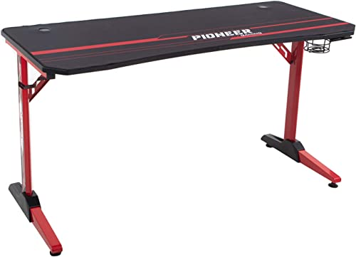 Furniwell 63 Inch Gaming Desk Computer T-Shaped Desk Game Table Workstation with Free Mouse Pad,Gaming Handle Rack, Cup Holder and Headphone Hook Red Leg
