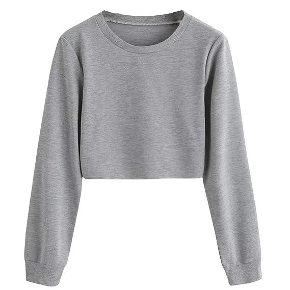Bauchfreier Pulli Mädchen, Damen Pullover Bauchfrei Casual Langarm Sweatshirt Kurz Sport Crop Tops Oberteile Sweatjacke Shirts Hemd Bluse