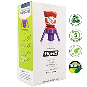 Flip-it! Bottle Emptying Kit - Super Deluxe - Flip Bottle Upside Down To Get Every Last Drop Out of Honey, Ketchup, Condiments and Beauty Products With Flip-It! | 6 pack - BPA Free - Dishwasher Safe