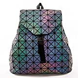 HotOne Geometric Luminous Purses and Handbags Shard Lattice Eco-friendly Leather Holographic Purse (Luminous Backpack)