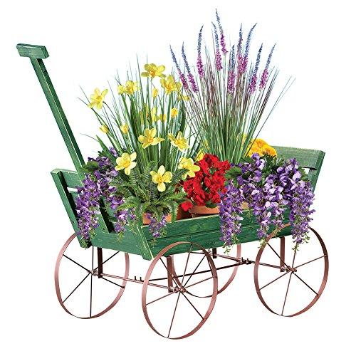 Old Fashioned Wooden Garden Wagon Cart Flower Planter