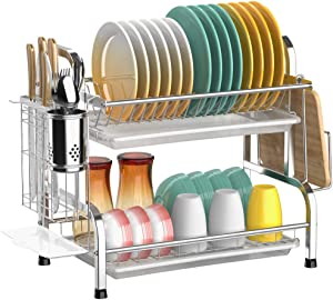 Dish Drying Rack, Cambond 304 Stainless Steel 2 Tier Dish Rack with Drain Board, Utensil Holder, Cutting Board Holder, Rustproof Dish Drainer for Kitchen Countertop, Silver