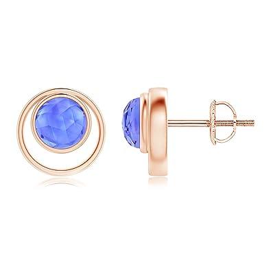 Angara Bezel-Set Amethyst Concentric Circle Stud Earrings kU5tRUR9b