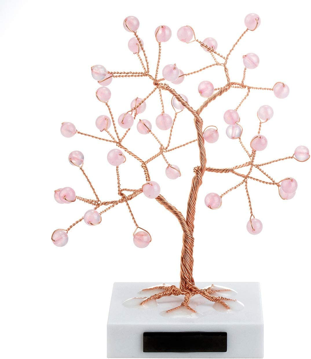 Top Plaza Reiki Healing Crystals Rose Quartz Bead Copper Money Tree Wrapped On Marble Base Feng Shui Luck Figurine Art Decor for Home Office Living Room Mini Sized