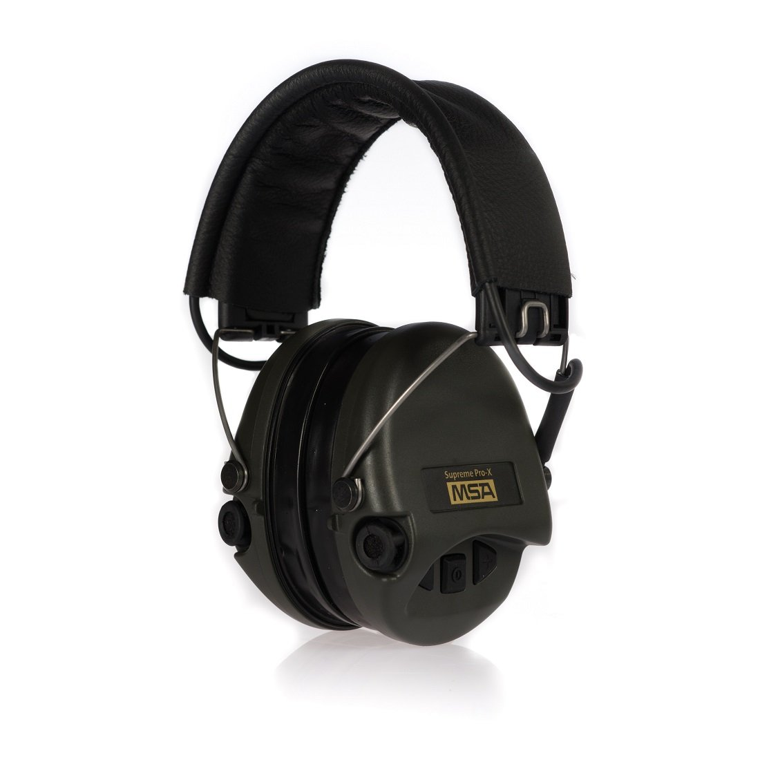MSA Sordin Supreme Pro X - Premium Edition - Electronic Earmuff with black leather band, green cups and gel seals fitted by MSA Sordin B00QV4OCDA