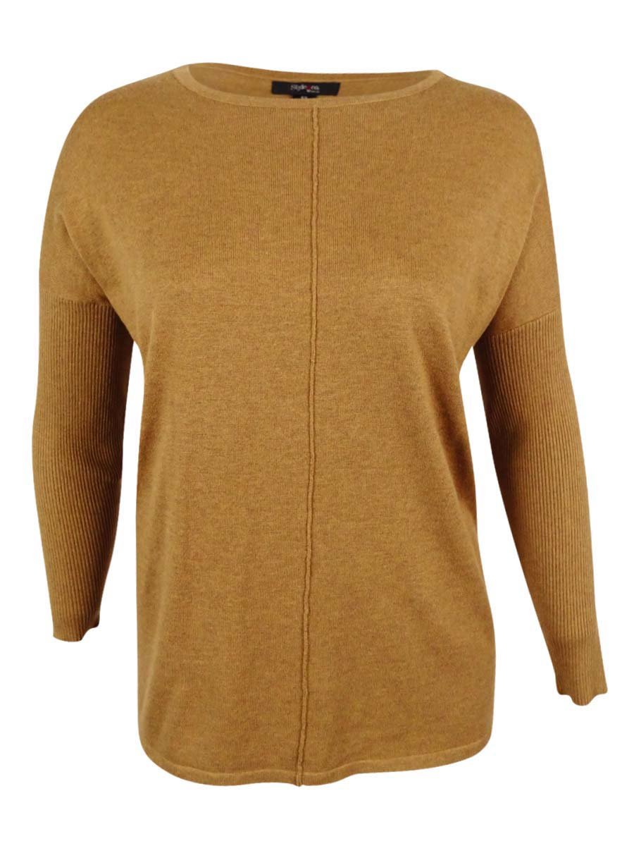 Style & Co. Womens Plus Solid Long Sleeves Casual Top Brown 2X