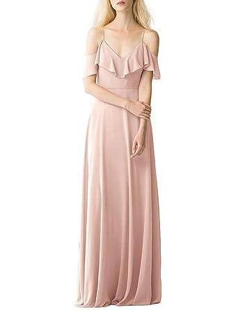 42d084e58041 CLOTHKNOW Spaghetti Chiffon Bridesmaid Dresses Long Blush with Shoulder  Straps Ruffles for Women Girls to Wedding