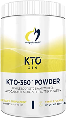 Designs for Health KTO-360 Collagen Peptides Protein Powder – Keto MCT Oil Powder Avocado Oil Grass Fed Butter – Best for The Ketogenic Diet -Vanilla – Non-GMO and Gluten Free 15 Servings 600g