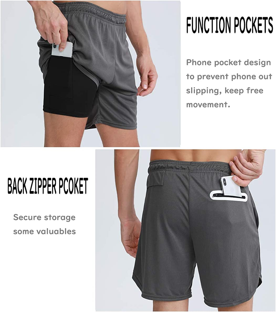 Inkpoo Mens Running Gym 2 in 1 Sports Quick Drying Breathable Shorts Outdoor Training 7 Shorts with Phone Pocket