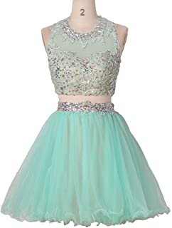306c9abfd928 Womens Short Beaded Prom Dress Two Piece Homecoming Dresses Juniors Crop  Top Skirt HC001