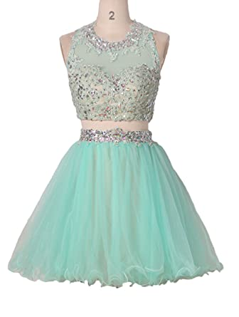 Stillluxury Short Beaded Prom Dress Two Piece Homecoming Dresses with Appliques Ruffles Mint Size 6