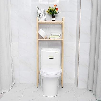 GOTOTOP - Estantería para baño (madera, 2 estantes): Amazon ...