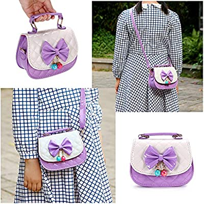Hipiwe Little Girls Crossbody Purses for Kids - PU Leather Cute Crossbody Shoulder Bags Bowknot Children Handbag for Baby Girls (Purple+White): Clothing