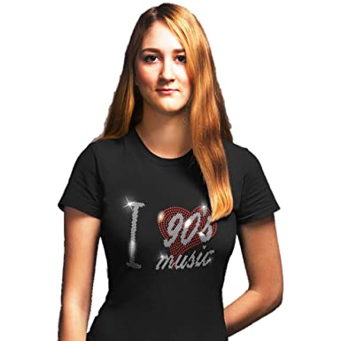 ROCK STAR MUSIC LADIES FITTED T SHIRT WITH RHINESTONE CRYSTAL DESIGN any size