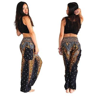 Femme Pantalon de Yoga Bohémien Pantalon Sarouel Bouffant Imprimé Floral Taille Élastique Harem avec Poche pour Danse Yoga Pilate Coton GongzhuMM