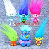 Trolls Figures | Dreamworks Movie Troll Dolls | Poppy And Friends | 6 Piece Set 4-7cm Toys | By ToysOutLet_USA