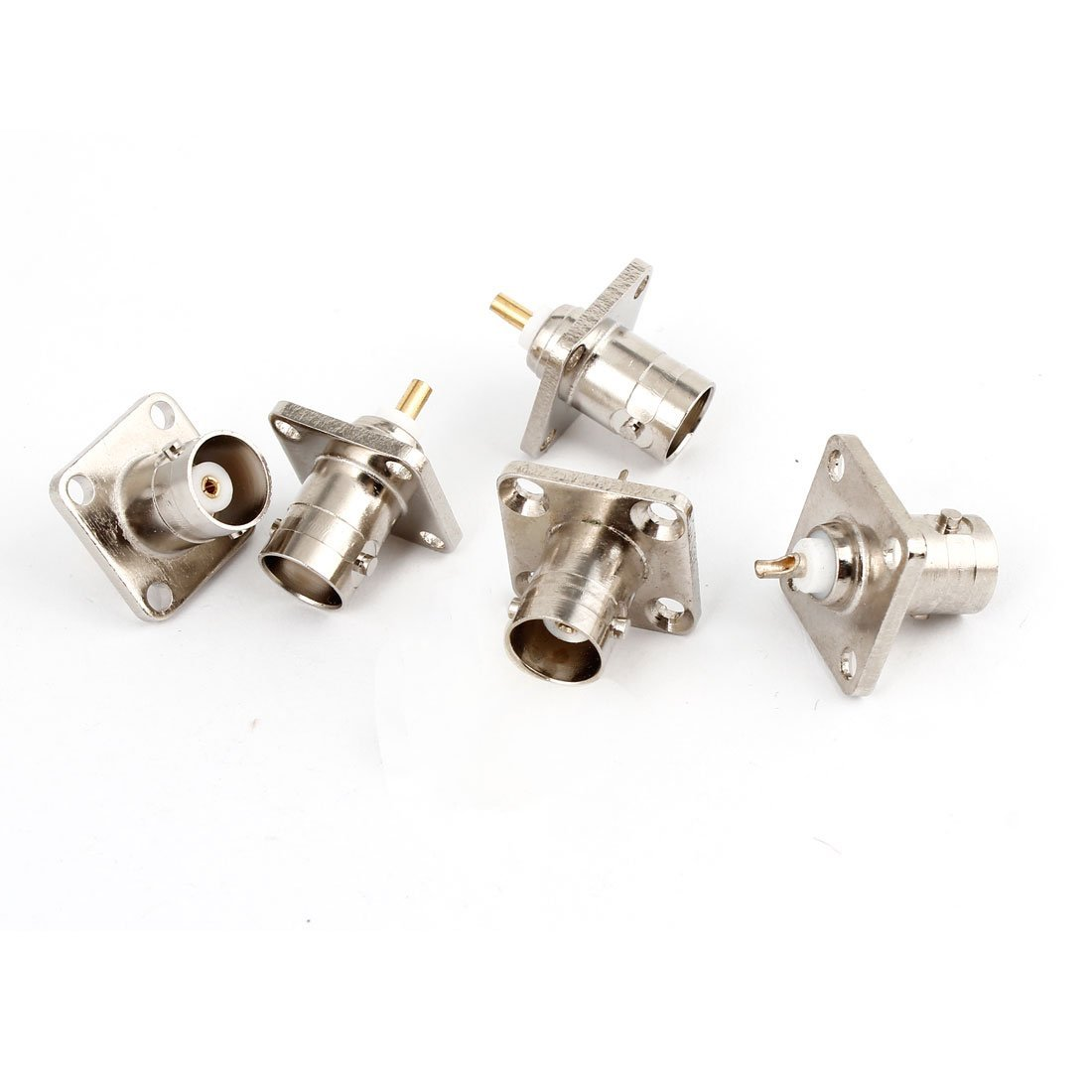 uxcell 5pcs BNC Female Jack 4 Hole Flange Panel Chassis Mount Solder Adapter