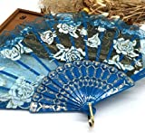 Blue Lace Rose Flower Embroidered Flower Floral Fabric Lace Trim Hand Fan Portable Dance Fan Party Favors