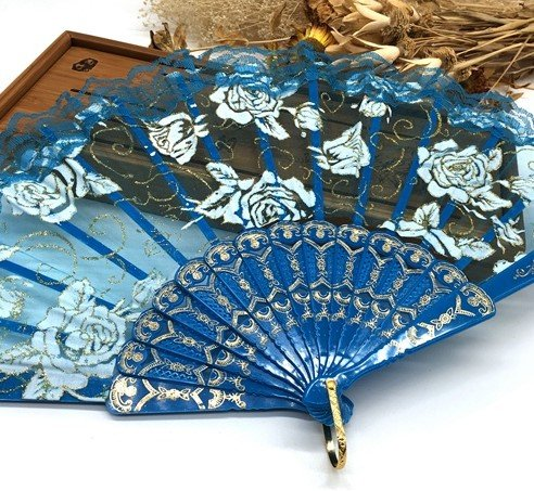 Blue Lace Rose Flower Embroidered Flower Floral Fabric Lace Trim Hand Fan Portable Dance Fan Party Favors by Hand Fan