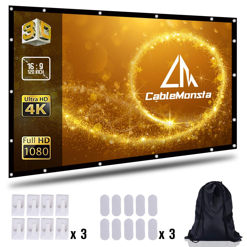 Projection Screen 120 inch 16:9 Movie Screen HD Ready for Home Cinema Theater Presentation Education Outdoor Indoor Public Display Support Double Sided Projection with Bag CableMonsta