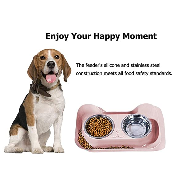 Amazon.com : Aolvo Double Pet Food Bowls with No Spill Tray for Cat Dog Stainless Steel Cute Cat Shape Anti-slip Food Water Feeder Bowls Food Holder for ...