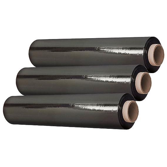 3 Rollen Stretchfolie 500mm breit und 300m lang Schwarz 23my