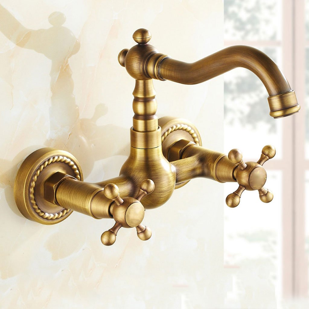 FJH Retro Brass Wall-Mounted Kitchen Hot and Cold Water Tap Dish Basin Sink Faucet redatable