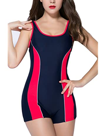 43a274b16c beautyin Women s One Piece Swimsuits Boyleg Sports Swimwear