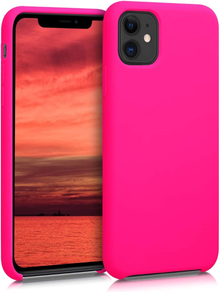 kwmobile TPU Silicone Case Compatible with Apple iPhone 11 - Soft Flexible Rubber Protective Cover - Neon Pink