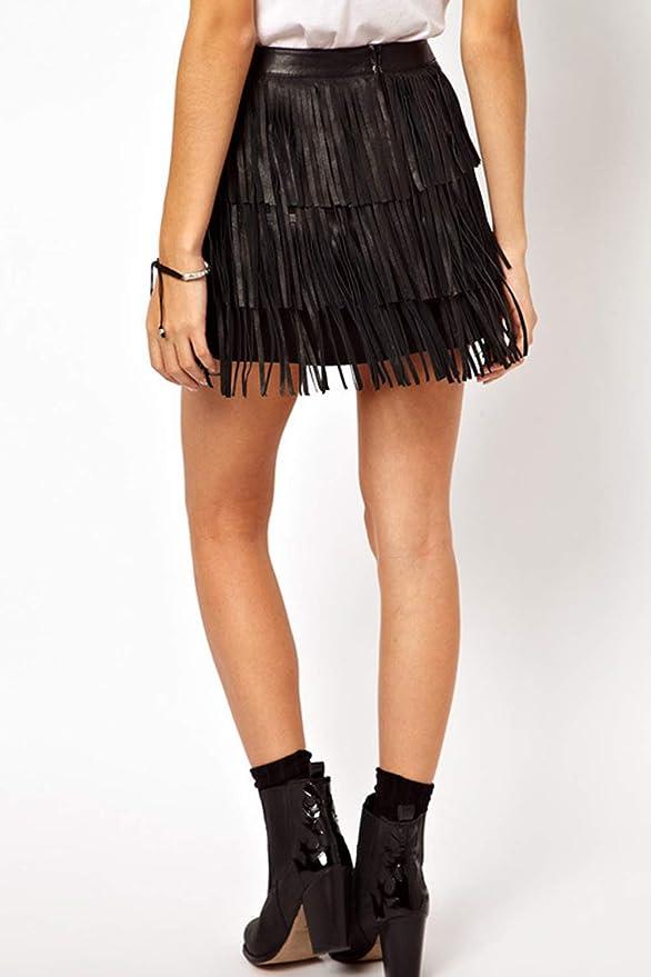 Mupoduvos Mini Falda para Discoteca De Cintura Alta con Flecos PU ...