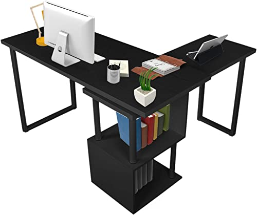 COZUHAUSE L-Shaped Swivel Office Desk 55 360 Degrees Rotating Honey Comb Board Wood Grain Veneer Computer Desk with Storage Shelves Black