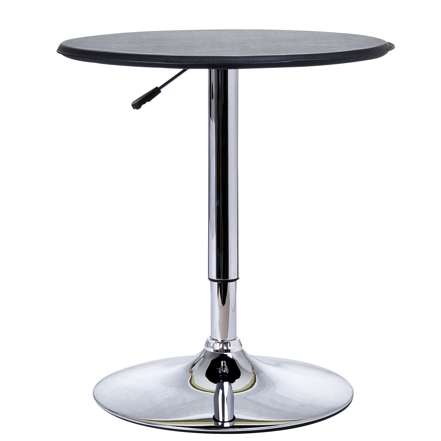 HOMCOM 25'' Classic Round Adjustable PU Leather Top Chrome Standing Bistro Bar Table