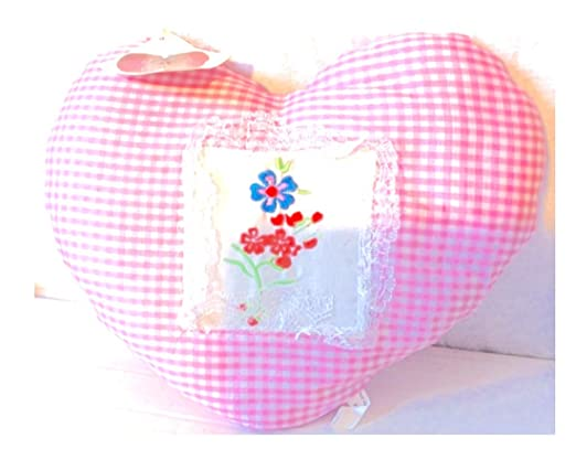 CE Cojín con Forma de corazón con Flores Bordadas. Rosa. 30 ...
